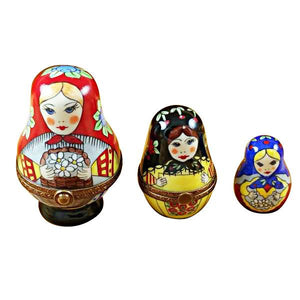 Russian Dolls S/3 Red Scarf Limoges Box by Rochard™-Limoges Box-Rochard-Top Notch Gift Shop