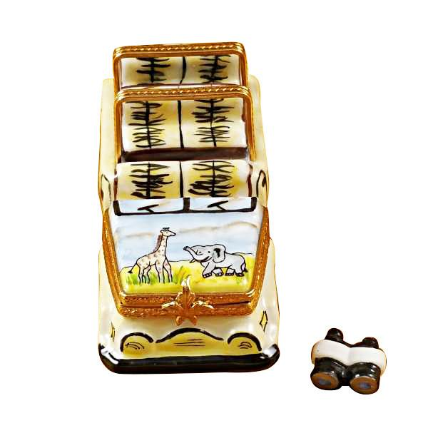 Safari Vehicle With Binoculars Limoges Box by Rochard™-Limoges Box-Rochard-Top Notch Gift Shop
