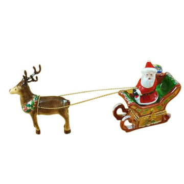 Santa In Sleigh with Reindeer Limoges Box by Rochard™