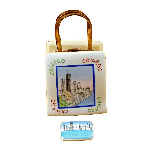 Shopping Bag Chicago Lighthouse Limoges Box by Rochard-Limoges Box-Rochard-Top Notch Gift Shop