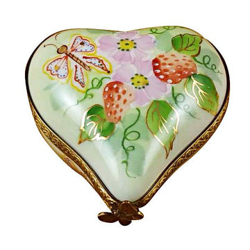 Small Heart with Strawberries Limoges Box by Rochard™