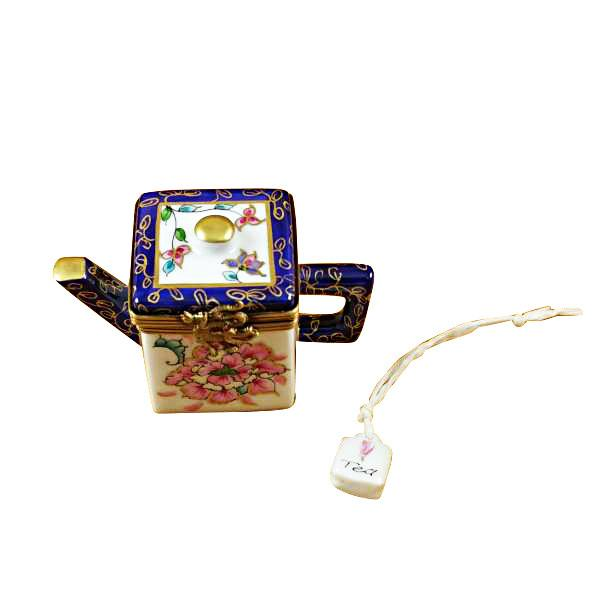 Square Teapot with Blue Spout & Handle Limoges Box by Rochard™-Limoges Box-Rochard-Top Notch Gift Shop
