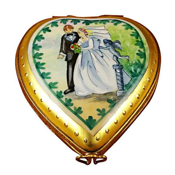 Studio Collection - Heart with Wedding Couple Limoges Box by Rochard™