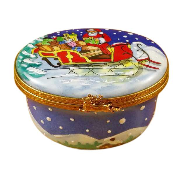 Studio Collection-Santa In Sleigh Limoges Box by Rochard-Limoges Box-Rochard-Top Notch Gift Shop