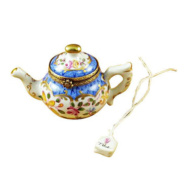 Teapot Blue Scales with Tea Bag Limoges Box  by Rochard