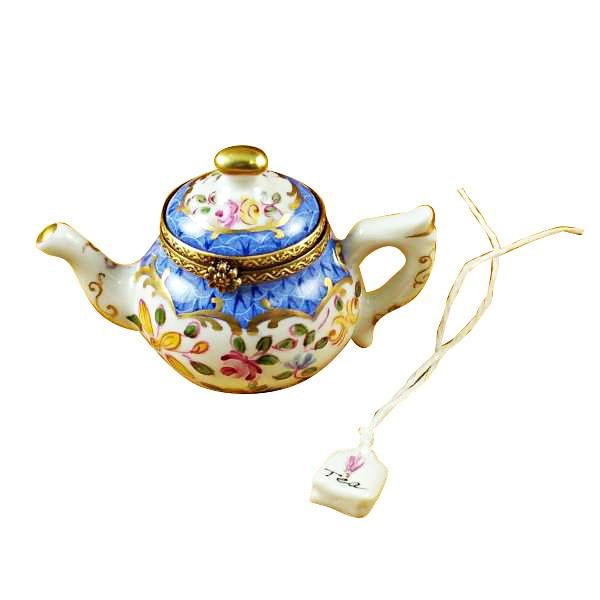 Teapot Blue Scales with Tea Bag Limoges Box-Limoges Box-Rochard-Top Notch Gift Shop
