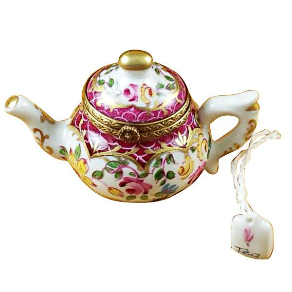 Teapot Flowers And Maroon Scales Limoges Box by Rochard™-Limoges Box-Rochard-Top Notch Gift Shop