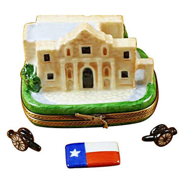 The Alamo with Cannons And Texas Flag Limoges Box by Rochard™