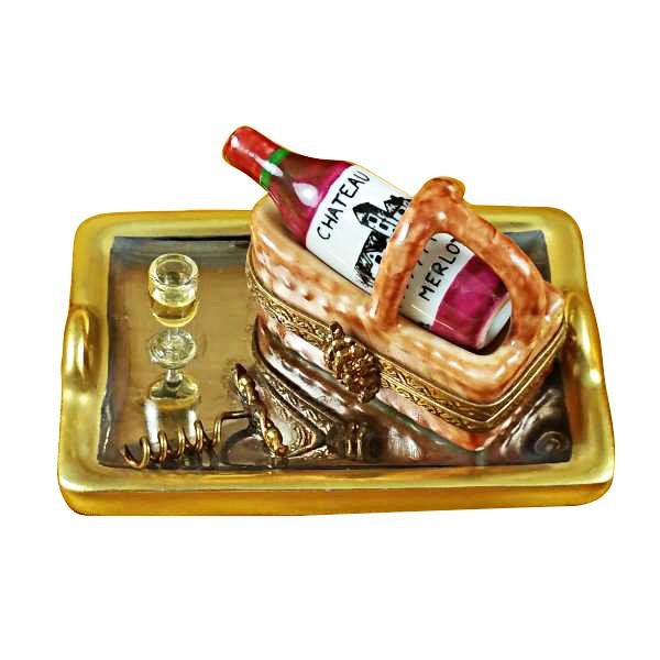 Tray with Wine Tasting Basket Limoges Box by Rochard-Limoges Box-Rochard-Top Notch Gift Shop