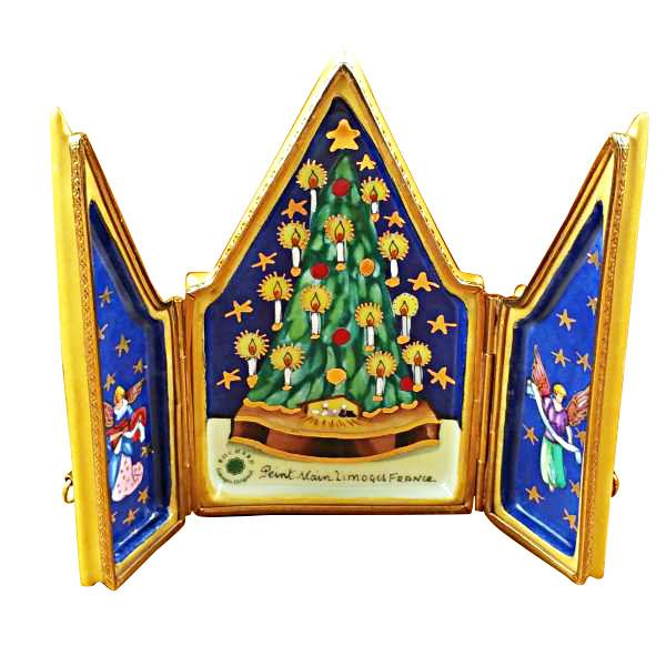 Triptych Christmas Tree Limoges Box by Rochard-Limoges Box-Rochard-Top Notch Gift Shop
