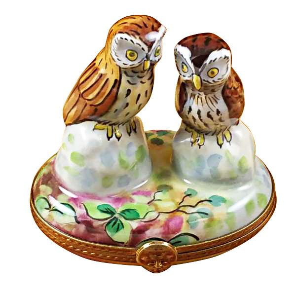 Two Owls Limoges Box-Limoges Box-Rochard-Top Notch Gift Shop