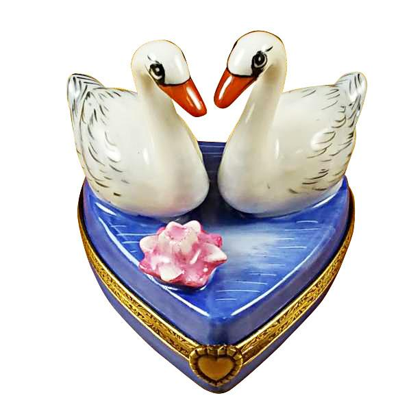 Two Swans On Heart Limoges Box by Rochard-Limoges Box-Rochard-Top Notch Gift Shop