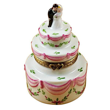 Wedding Cake with Bride & Groom Limoges Box by Rochard™
