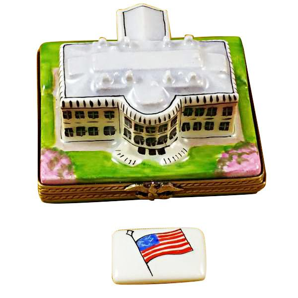 White House W/Removable Flag Limoges Box by Rochard™-Limoges Box-Rochard-Top Notch Gift Shop