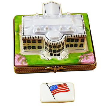 White House W/Removable Flag Limoges Box by Rochard™
