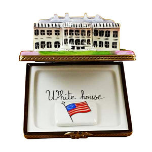 White House W/Removable Flag Limoges Box by Rochard™-Rochard-Top Notch Gift Shop