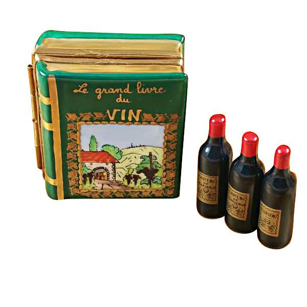 Wine Book with Three Bottles Limoges Box by Rochard™-Limoges Box-Rochard-Top Notch Gift Shop