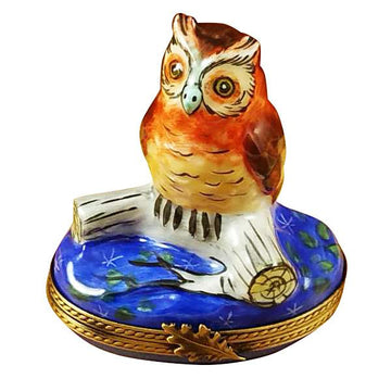 Wise Owl On Blue Base Limoges Box by Rochard™