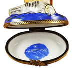 Wise Owl On Blue Base Limoges Box by Rochard™-Limoges Box-Rochard-Top Notch Gift Shop