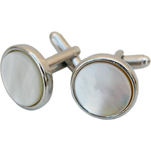 Round Silver Cufflinks with Mother of Pearl-Cufflinks-Classic Legacy-Top Notch Gift Shop