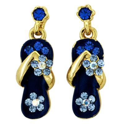 Flip Flop Earrings Royal Blue/Gold-Earrings-Sandals For Your Neck-Top Notch Gift Shop