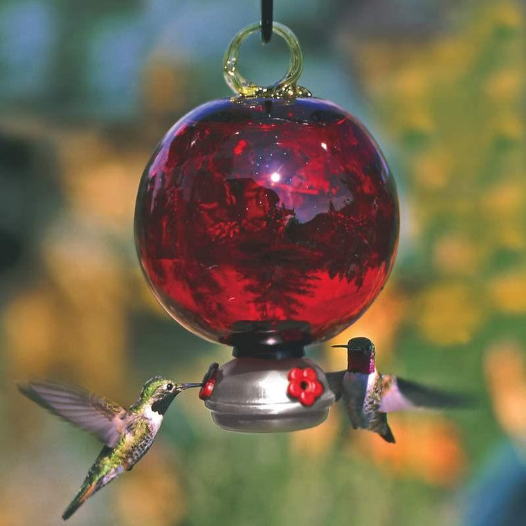 Ruby Red Dewdrop Glass Hummingbird Feeder-Parasol Gardens-Top Notch Gift Shop
