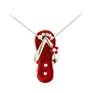 Flip Flop Necklace Ruby Red/Silver-Necklace-Sandals For Your Neck-Top Notch Gift Shop