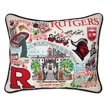 Rutgers University Embroidered Catstudio Pillow