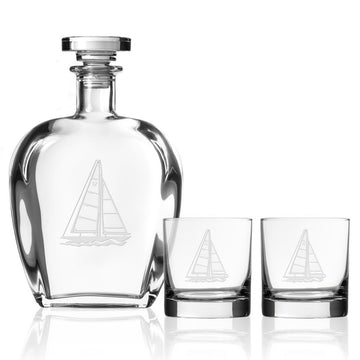 Sailboat 3 Piece Gift Set | Whiskey Decanter and Rocks Glasses