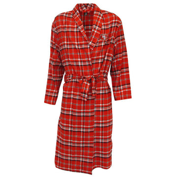 San Francisco 49ers Mens Red/Black Plaid Flannel Bathrobe