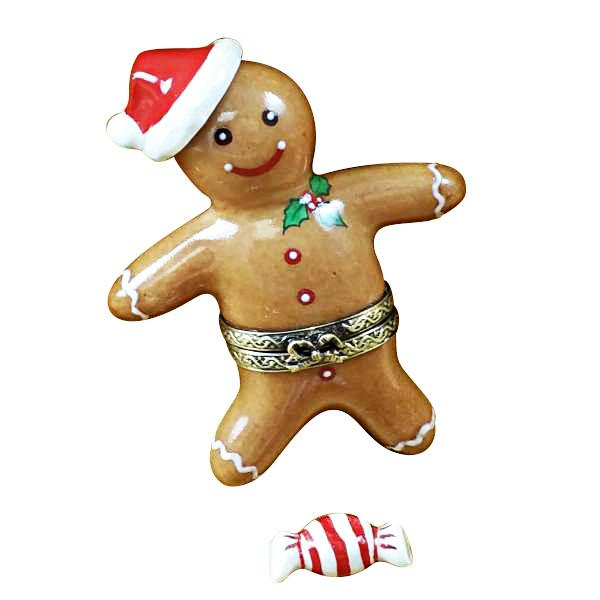 Santa Gingerbread Man W/ 3D And Peppermint Candy Limoges Box by Rochard™-Rochard-Top Notch Gift Shop