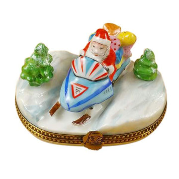 Santa On Snowmobile Limoges Box by Rochard™