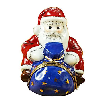 Santa Sitting With Gift Bag Limoges Box by Rochard™