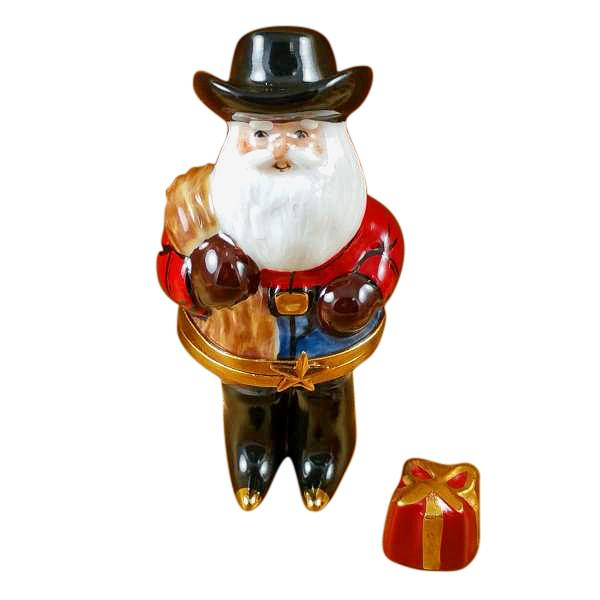Santa With Cowboy Hat, Boots, Rope Limoges Box by Rochard-Limoges Box-Rochard-Top Notch Gift Shop