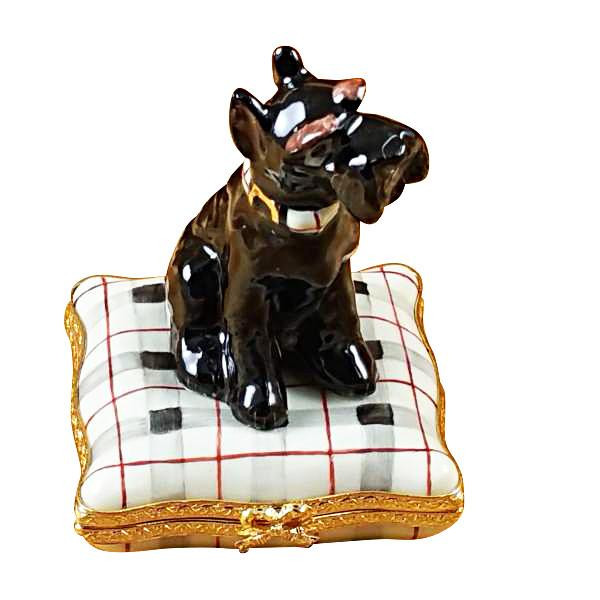 Schnauzer On Plaid Pillow Limoges Box by Rochard™-Limoges Box-Rochard-Top Notch Gift Shop