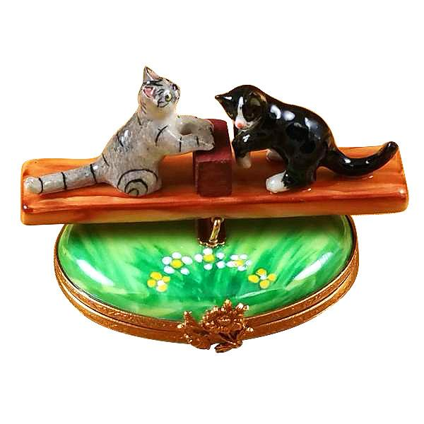 See Saw Cats Limoges Box by Rochard™-Rochard-Top Notch Gift Shop