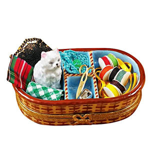 Sewing Basket With Cat Limoges Box by Rochard™-Limoges Box-Rochard-Top Notch Gift Shop