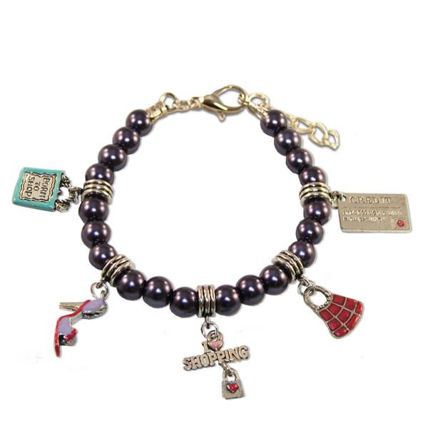 Shopper Mom Charm Bracelet in Silver-Whimsical GiftsTop Notch Gift Shop