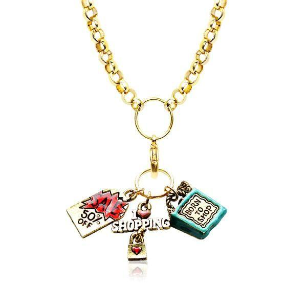 Shopper Mom Charm Necklace in Gold-Whimsical GiftsTop Notch Gift Shop