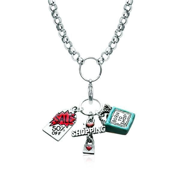 Shopper Mom Charm Necklace in Silver-Necklace-Whimsical Gifts-Top Notch Gift Shop
