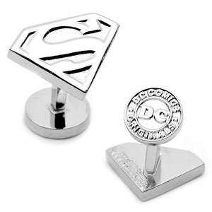 Silver Superman Shield Cufflinks-Cufflinks-Cufflinks, Inc.-Top Notch Gift Shop