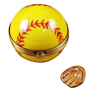 Softball With Removable Glove Limoges Box  by Rochard