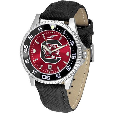 South Carolina Gamecocks Mens Competitor Ano Poly/Leather Band Watch w/ Colored Bezel