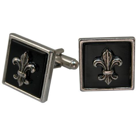 Square Cuff Links with Fleur de Lis on Black-Cufflinks-Classic Legacy-Top Notch Gift Shop