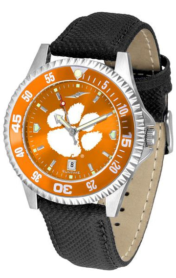 Clemson Tigers Mens Competitor Ano Poly/Leather Band Watch w/ Colored Bezel