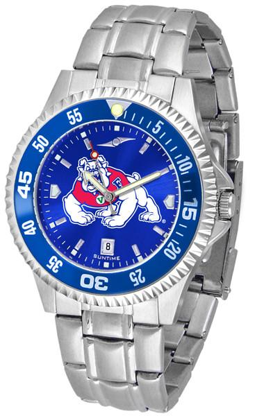 Fresno State Bulldogs Mens Competitor AnoChrome Steel Band Watch w/ Colored Bezel-Suntime-Top Notch Gift Shop
