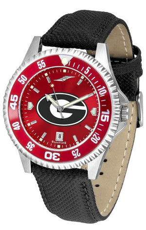 Georgia Bulldogs Ladies Competitor Ano Poly/Leather Band Watch w/ Colored Bezel-Watch-Suntime-Top Notch Gift Shop