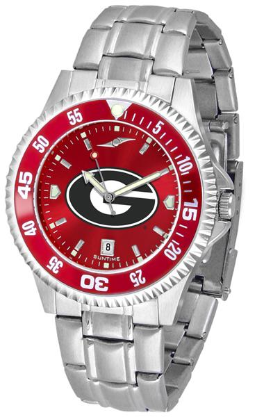 Georgia Bulldogs Mens Competitor AnoChrome Steel Band Watch w/ Colored Bezel-Watch-Suntime-Top Notch Gift Shop