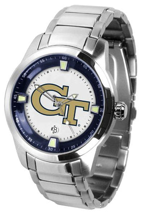 Georgia Tech Yellow Jackets Men's Titan Stainless Steel Band Watch-Watch-Suntime-Top Notch Gift Shop