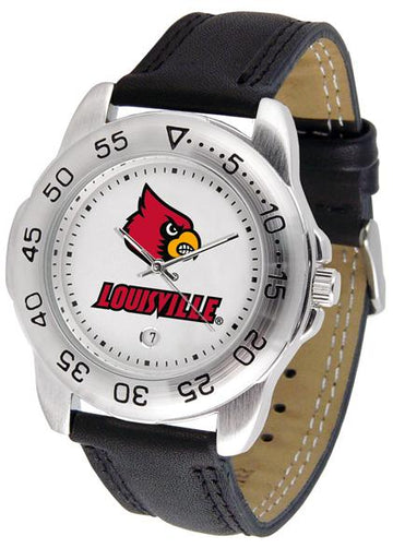 Louisville Cardinals Mens Leather Band Sports Watch